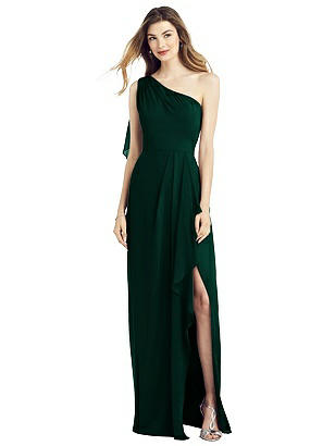 Special Order One-Shoulder Chiffon Dress with Draped Front Slit