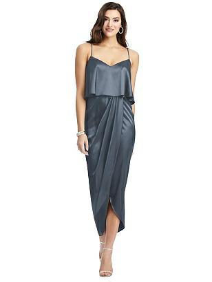 Special Order Popover Bodice Midi Dress with Draped Tulip Skirt