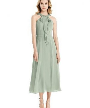 Special Order Ruffle Halter Chiffon Midi Dress