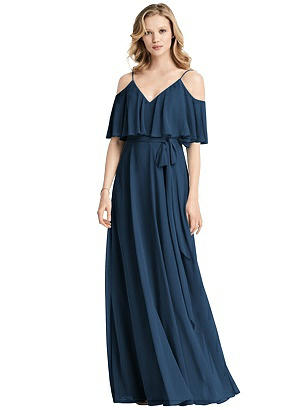 Special Order Ruffled Cold-Shoulder Maxi Dress with Flounce Overlay