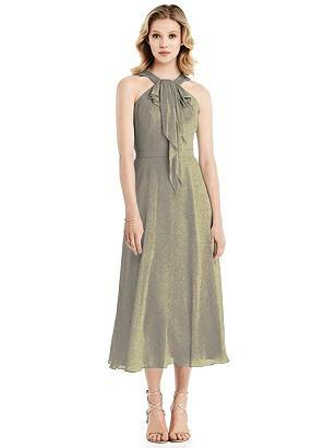 Special Order Shimmer Ruffle Halter Midi Dress