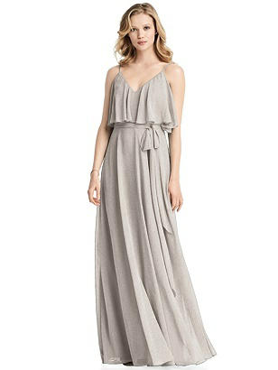 Special Order Shimmer V-Neck Gown with Ruffle Overlay Bodice