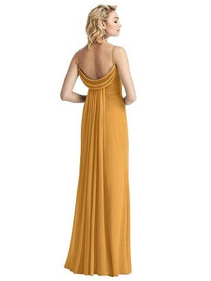 Special Order Shirred Sash Cowl-Back Chiffon Trumpet Gown