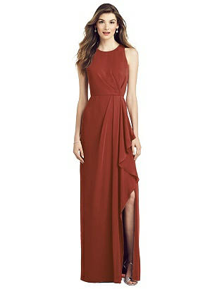Special Order Sleeveless Chiffon Dress with Draped Front Slit