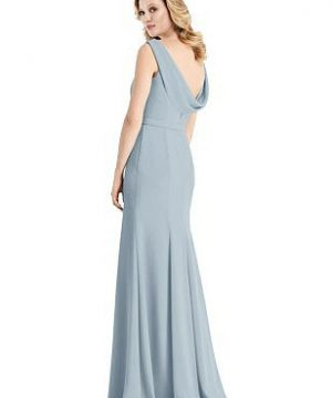 Special Order Sleeveless Cowl-Back Trumpet Gown