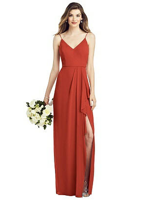 Special Order Spaghetti Strap Draped Skirt Gown with Front Slit