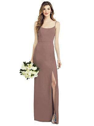 Special Order Spaghetti Strap V-Back Crepe Gown with Front Slit