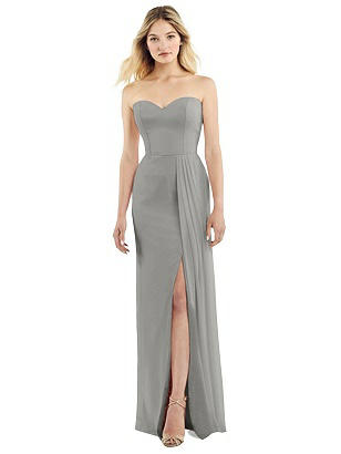 Special Order Strapless Chiffon Dress with Pleated Front Slit