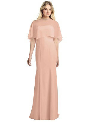 Special Order Strapless Chiffon Gown with Jewel-Trimmed Capelet