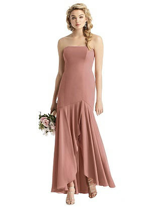 Special Order Strapless Sheer Crepe High-Low Dress