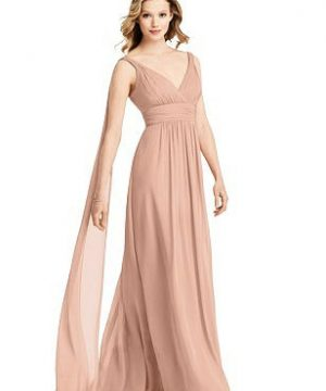 Special Order V-Neck Chiffon Gown with Streamer at Back Strap