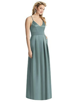 Special Order V-Neck Pleated Satin Dress with Pockets