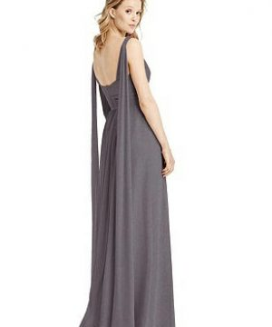 Special Order V-Neck Shimmer Gown with Streamer at Back Strap