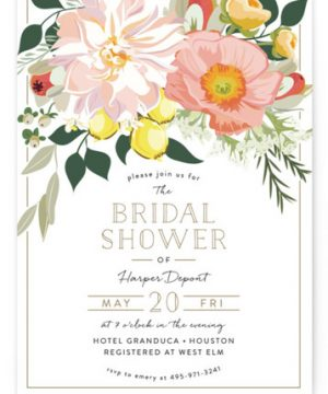 Spring Blooms Bridal Shower Invitations