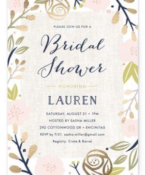 Spring Shower Foil-Pressed Bridal Shower Invitations