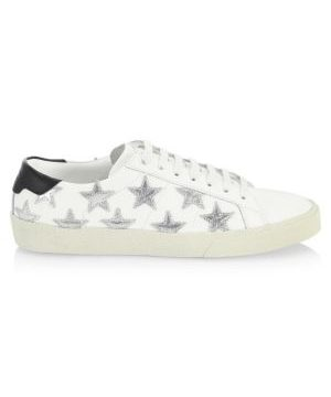 Star Lace-Up Leather Sneakers