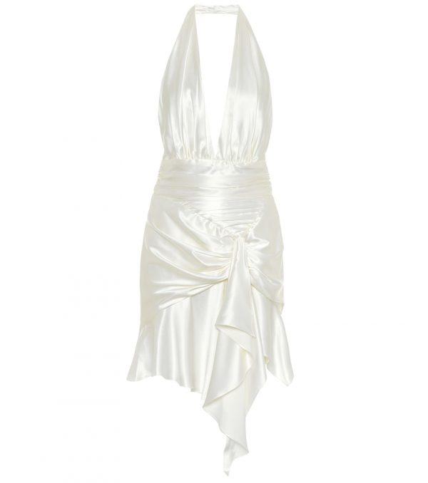 Stretch-silk satin mini dress