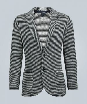 Striped knitted cotton blazer