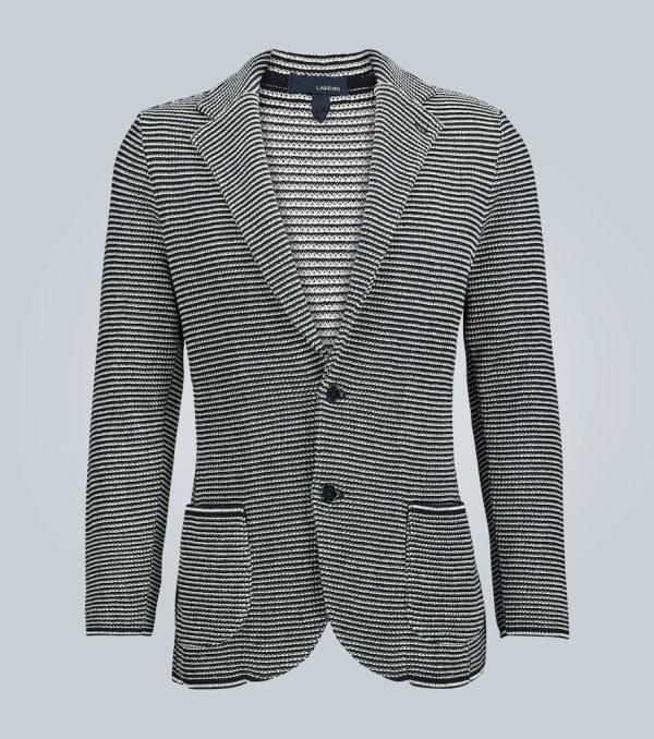 Striped knitted cotton blazer