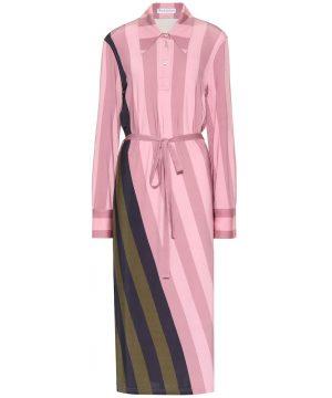 Striped stretch-jersey polo dress