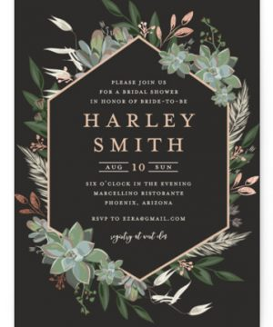 Succulent Surround Foil-Pressed Bridal Shower Invitations