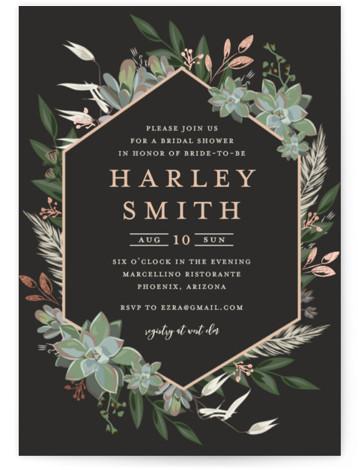 Succulent Surround Foil-Pressed Bridal Shower Invitations