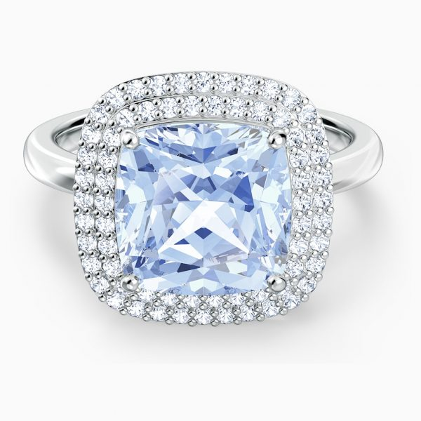 Swarovski Angelic Ring, Blue, Rhodium plated