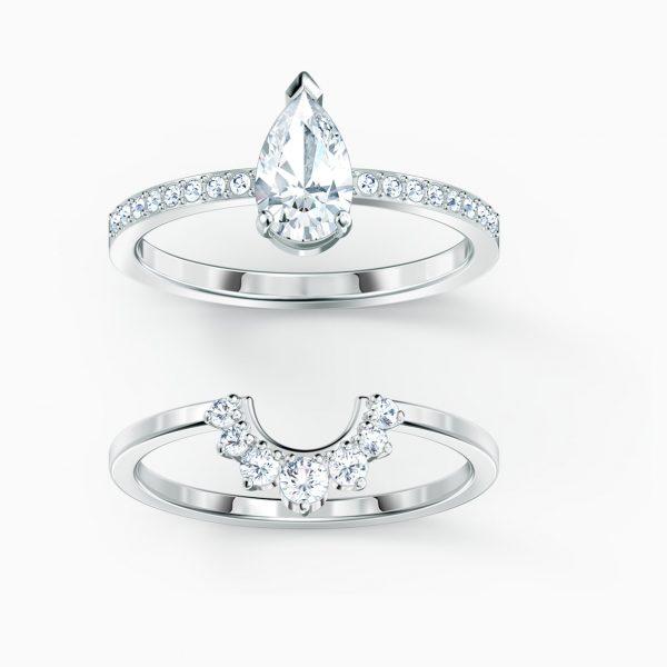 Swarovski Attract Pear Ring Set, White, Rhodium plated