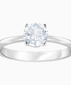 Swarovski Attract Ring, White, Rhodium plated