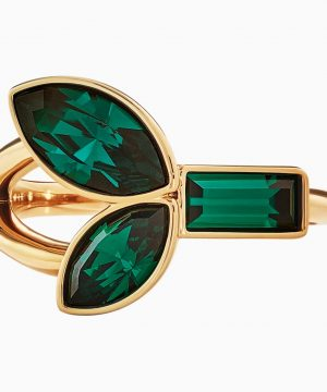 Swarovski Beautiful Earth by Susan Rockefeller Ring Set, Green, Gold-tone plated