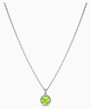 Swarovski Birthstone Pendant, August, Green, Rhodium plated