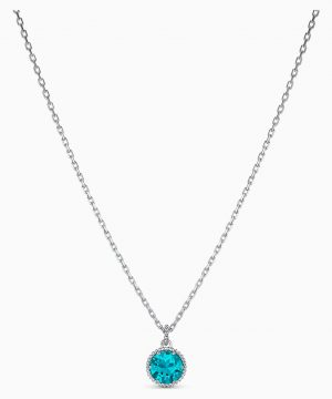 Swarovski Birthstone Pendant, December, Blue, Rhodium plated