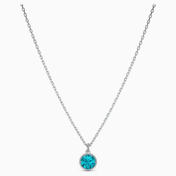 Swarovski Birthstone Pendant, December, Blue, Rhodium plated