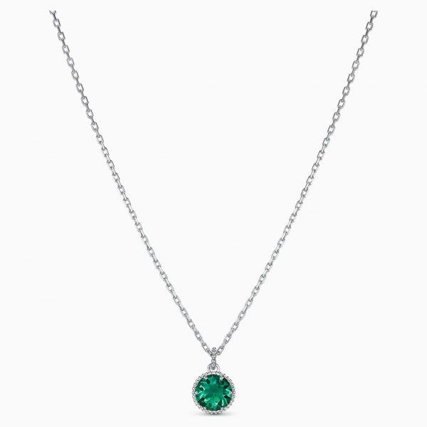 Swarovski Birthstone Pendant, May, Green, Rhodium plated