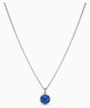 Swarovski Birthstone Pendant, September, Blue, Rhodium plated