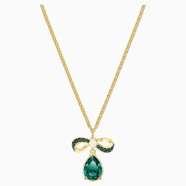 Swarovski Black Baroque Pendant, Green, Gold-tone plated