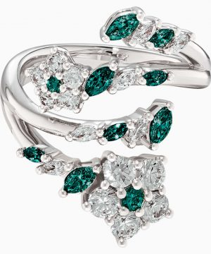 Swarovski Botanical Open Ring, Green, Rhodium Plated