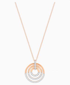 Swarovski Circle Pendant, White, Rose-gold tone plated