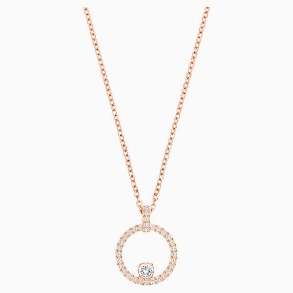 Swarovski Creativity Circle Pendant, White, Rose-gold tone plated