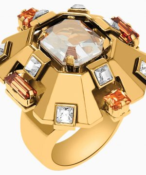 Swarovski Cristaux Deco Large Ring, Gold-tone plated