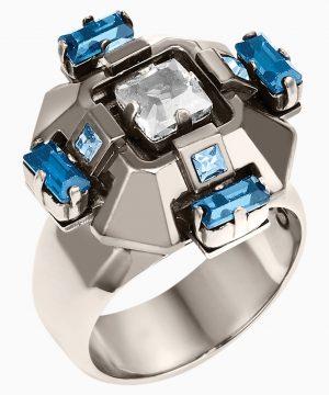 Swarovski Cristaux Deco Ring, ruthenium plating