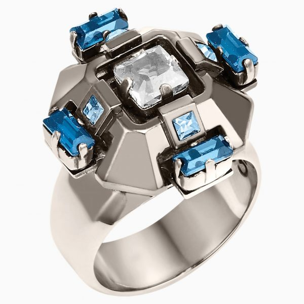 Swarovski Cristaux Deco Ring, ruthenium plating