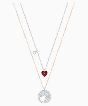 Swarovski Crystal Wishes Heart Pendant, Red, Mixed metal finish