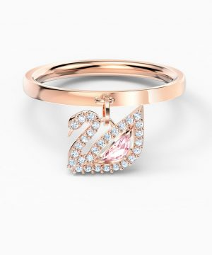 Swarovski Dazzling Swan Ring, Pink, Rose-gold tone plated