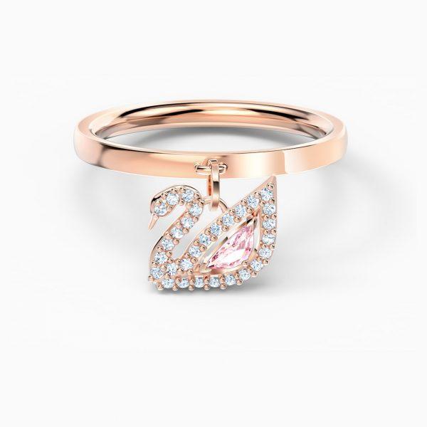 Swarovski Dazzling Swan Ring, Pink, Rose-gold tone plated
