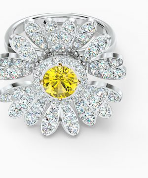 Swarovski Eternal Flower Ring, Yellow, Mixed metal finish