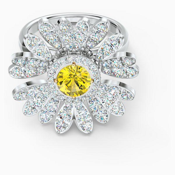 Swarovski Eternal Flower Ring, Yellow, Mixed metal finish