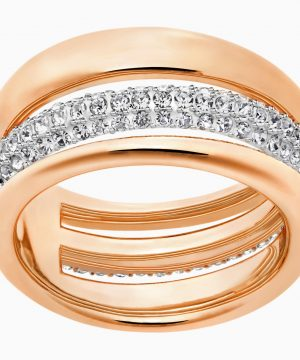 Swarovski Exact Ring, White, Rose-gold tone plated