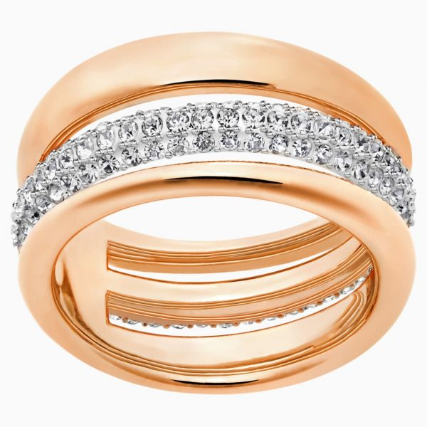 Swarovski Exact Ring, White, Rose-gold tone plated