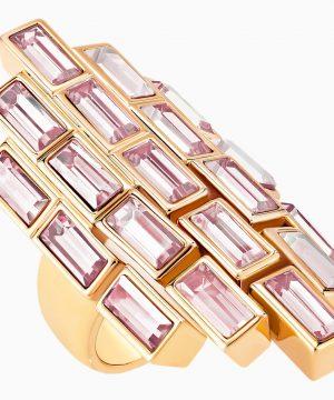 Swarovski Fluid Cocktail Ring, Violet, Rose-gold tone plated